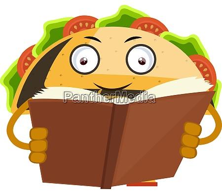 taco-lesebuch, illustration, vektor, auf, weißem, hintergrund. - 27526348