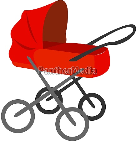 red baby carriage illustration vector on