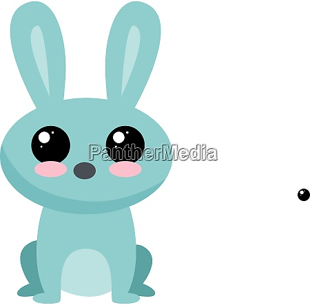 blue rabbit illustration vector on white