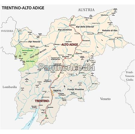 strassenkarte der italienischen region trentino alto