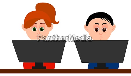 man and woman at office illustration
