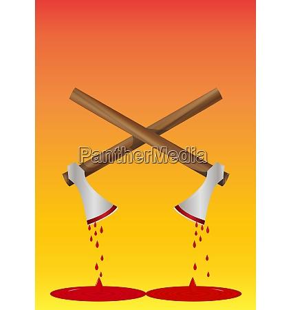 bloody, axe, , illustration - 27528440