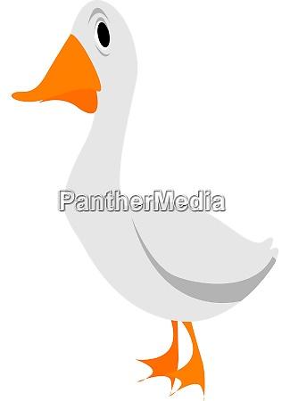 white goose illustration vector on white
