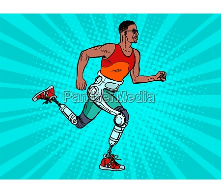 disabled african man running with legs