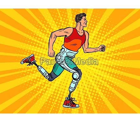 behinderter mann laeuft mit beinen prothesen