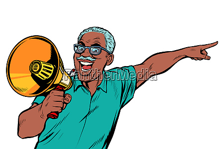 african elderly man with a megaphone