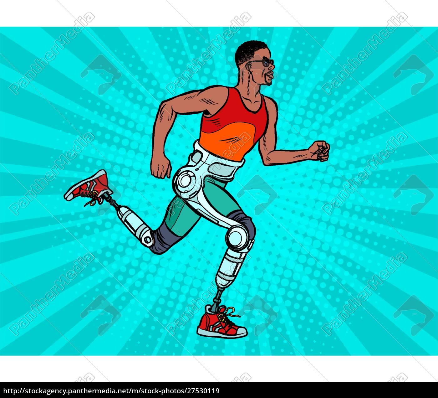 behinderter, afrikanischer, mann, läuft, mit, beinen - 27530119