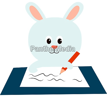 white bunny illustration vector on white