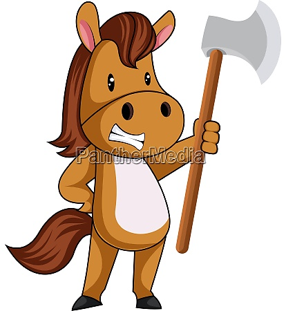 pferd mit axt illustration vektor auf