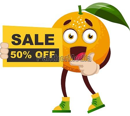 orange mit verkaufsschild illustration vektor auf