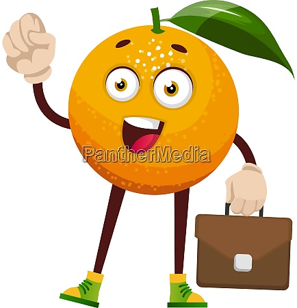 orange with suitcase illustration vector on