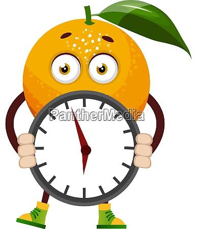 orange with clock illustration vector on