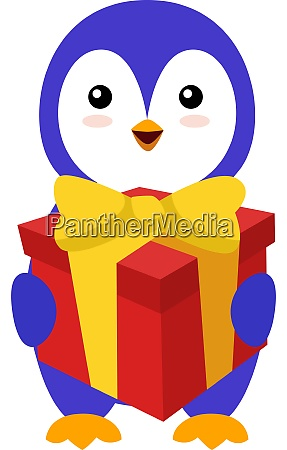 penguin with birthday present illustration vector