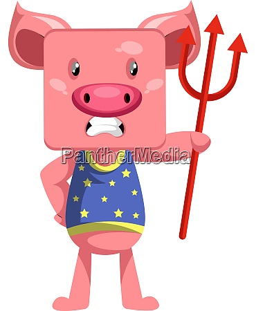 pig with devil spear illustration vector
