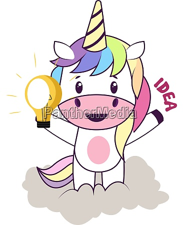 unicorn with lightbulb illustration vector on