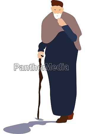elder man illustration vector on white