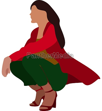 girl with red sweater illustration vector