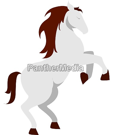 white horse illustration vector on white