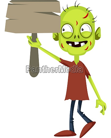 zombie with wooden sign illustration vector