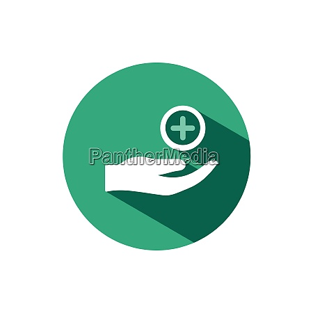 hand icon and pharmacy cross with