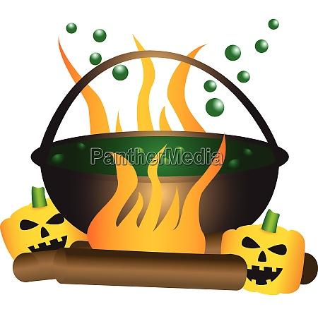 halloween thema eines sprudelnden hexenkessels