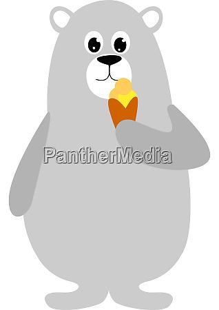 bear with ice cream illustration vector