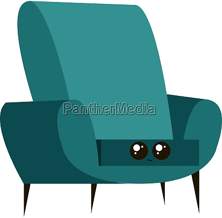 blue armchair illustration vector on white