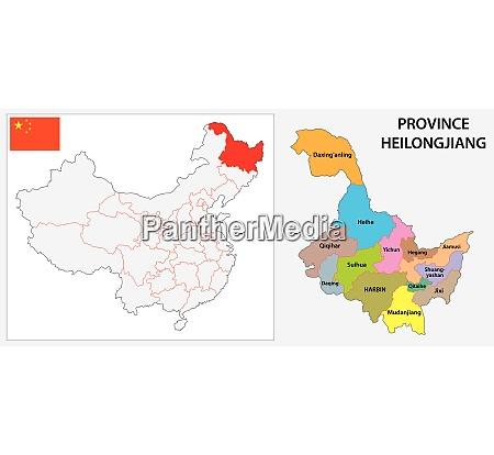 provinz heilongjiang administrative und politische karte