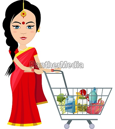 indian woman shopping illustration vector