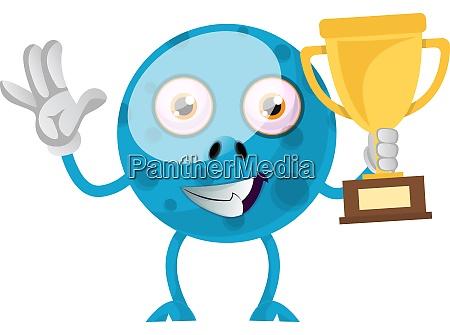 blue monster with trophy illustration vector