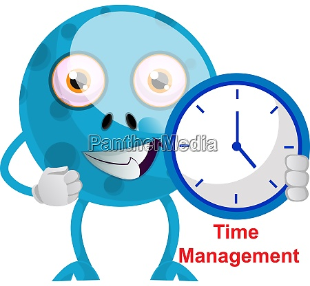 blue monster with blue clock illustration