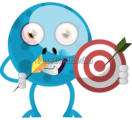blue monster with target illustration vector