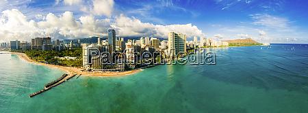 panoramablick auf waikiki beach honolulu oahu
