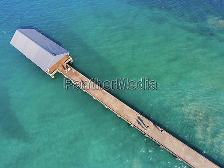luftaufnahme von hanalei bay jetty kauai