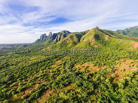luftaufnahme der kalalea mountains anahola kauai