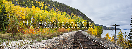 train tracks along lake superior with