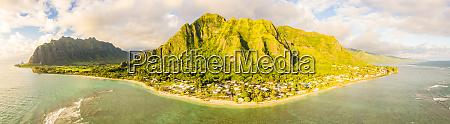 panoramablick auf kaawa oahu hawaii