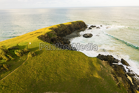 aerial view of bare bluff sandy