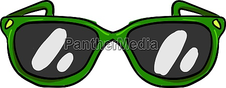 green glasses illustration vector on white