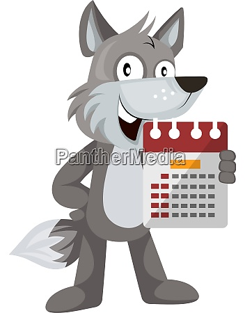 wolf with calendar illustration vector on