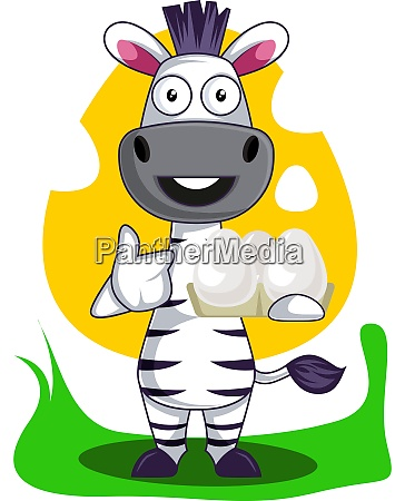 zebra with eggs illustration vector on