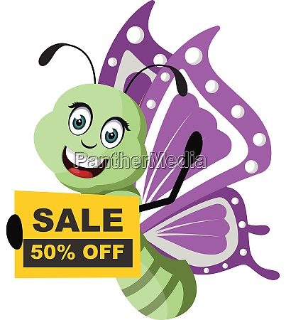 butterfly with sale sign illustration vector