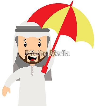 arab men with umbrella illustration vector
