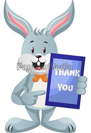bunny with thank you sign illustration