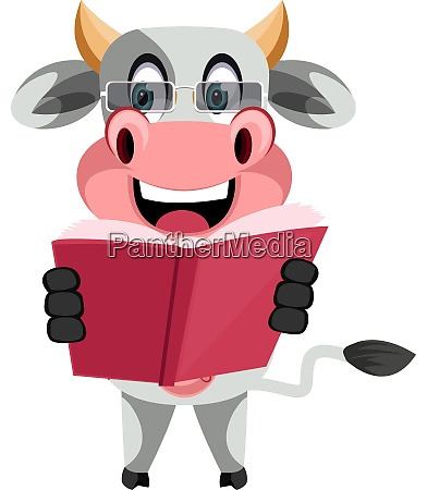 cow reading book illustration vector on