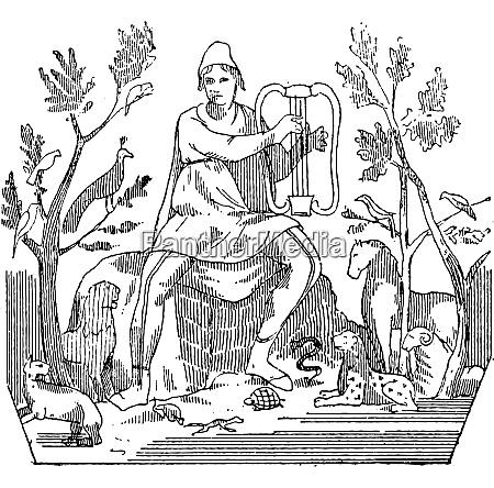 orpheus zieht wilde tiere zum klang