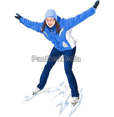 vektor der frau skaten auf schnee