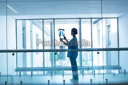 female surgeon examining x ray in