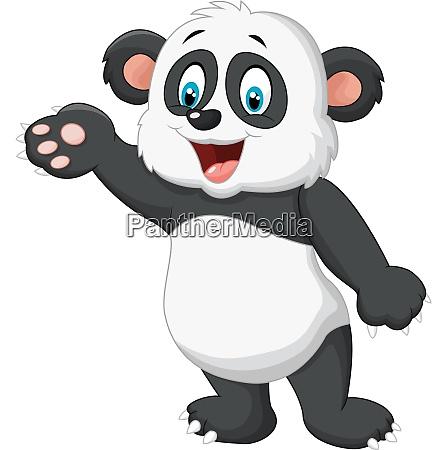 cartoon panda praesentieren