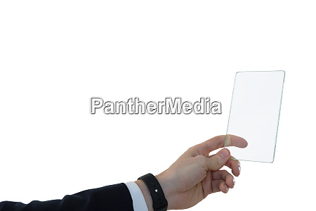 businessman using glass digital tablet